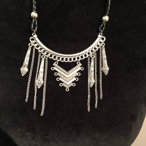 Jewelry - NEW Silver Necklace with black braided cord